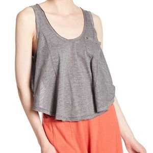 Free People Stevie split back Tank Top Gray